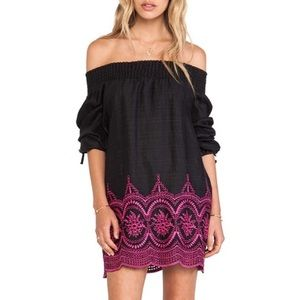 Tularosa /Black Off-the-Shoulder Pink Eyelet Dress